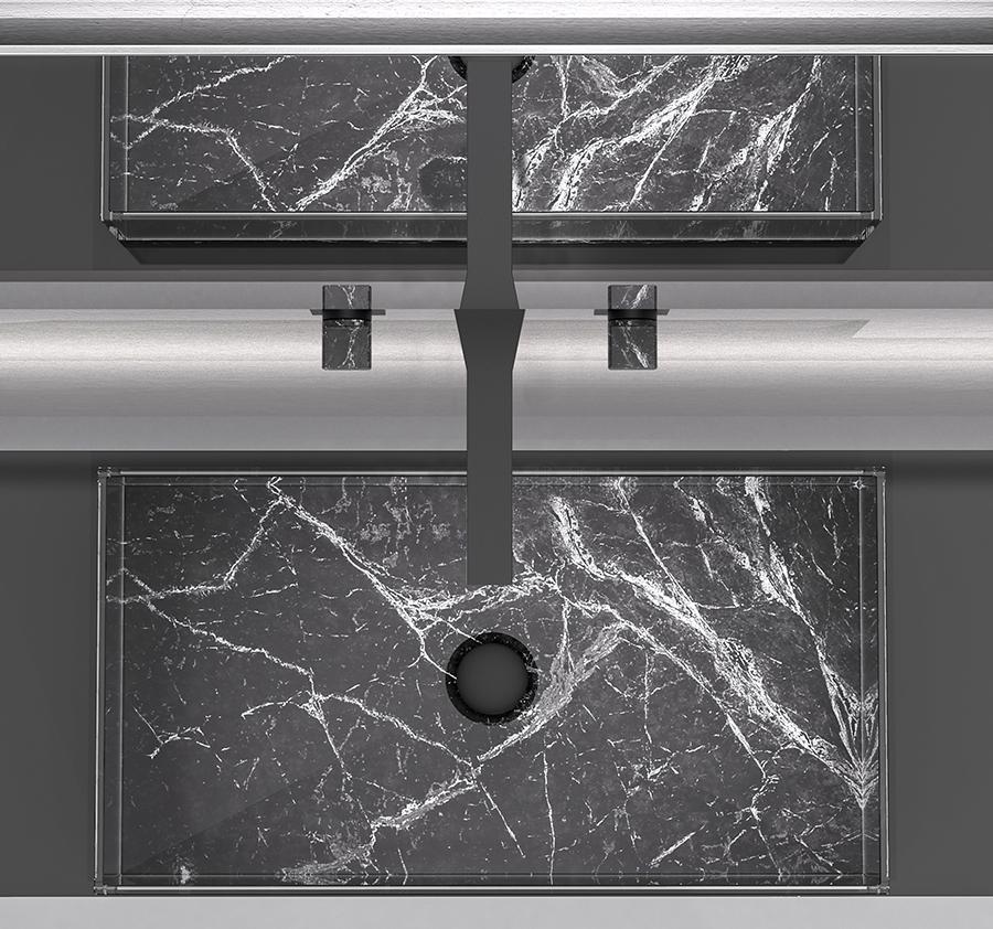 Lavabo in marmo e vetro